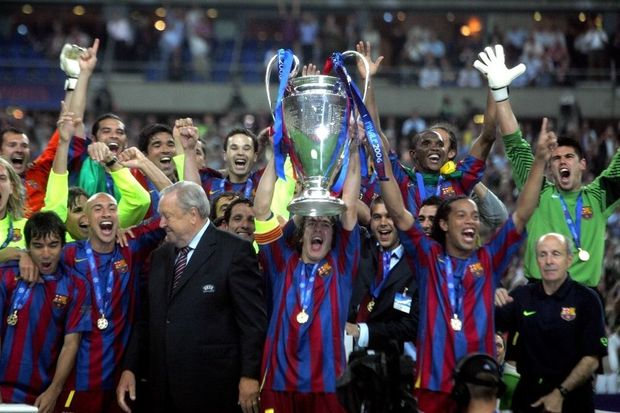 Le Barça remporte la Champions League face à Arsenal en 2006.
